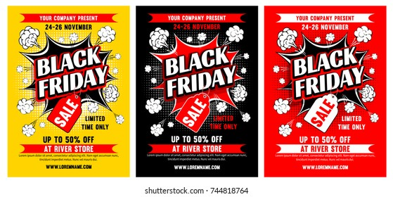 Black Friday Sale advertising template set for your business design. Black Pop art style. Vector illustration.