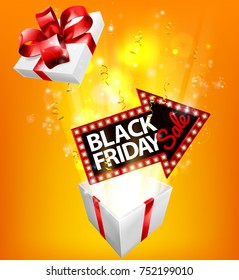 A Black Friday Sale arrow sign exploding out of a gift box with a red ribbon bow