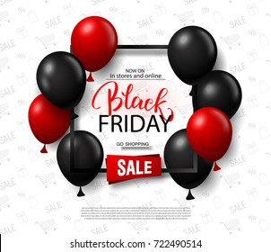 Black friday sale background with balloons. Modern design.Universal vector background for poster, banners, flyers, card