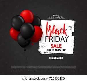 Black friday sale background with balloons. Modern design.Universal vector background for poster, banners, flyers, card.