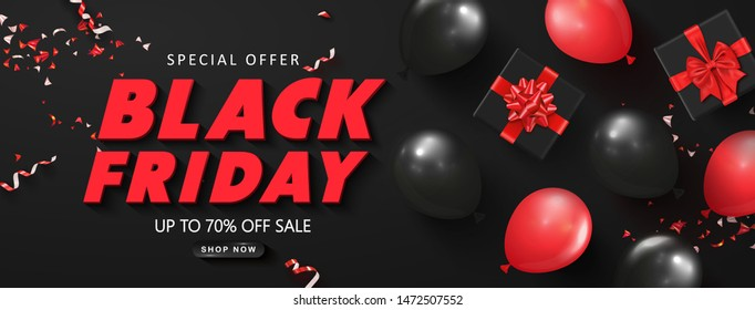Black friday sale background with balloons,gift boxes and serpentine. Modern design.Universal vector background for poster, banners, flyers, card.