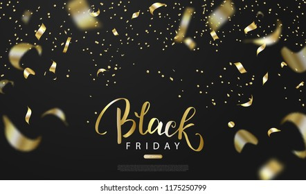 Black friday sale background with gold serpentine. Modern design.Universal vector background for poster, banners, flyers, card.