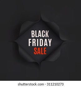 Black Friday sale background. Hole in black paper. Vector illustration.