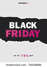 Black Friday sale background. Hole in black paper. Black Friday banner. Up to 70% off. Special offer. Vector illustration EPS10