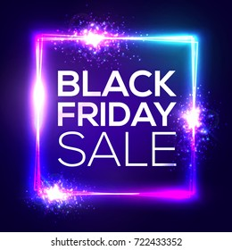 Black friday sale background. Neon holiday shopping sign with flares and sparkles. Square frame with explosion and light. Electric bright banner for Christmas sales design 3d bokeh vector illustration