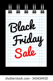 Black friday sale background with notepad. Vector illustration