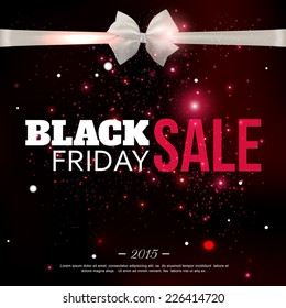 Black friday sale background with photorealistic bow and place for text. Vector illustration.