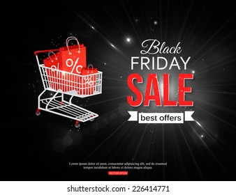 Black friday sale background with photorealistic shopping cart and place for text. Vector illustration.