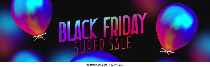 Black Friday Sale. Background with realistic balloons bright blue color gradient gasoline. Poster, banner for advertising and branding. Cover and brochure. header for website. vector illustration.
