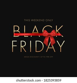 Black friday sale background with red bow. Sale promo Banner or poster with gold text discount. Vector illustration