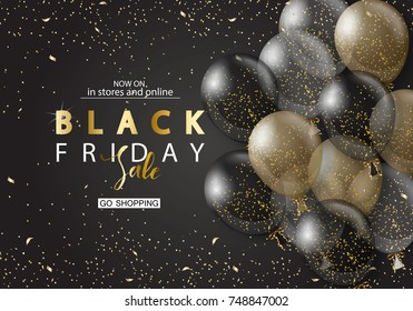 Black friday sale background with transparent realistic balloons. Modern design.Universal vector background for poster, banners, flyers, card