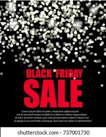Black friday sale background. Black white lights bokeh background. Vector illustration