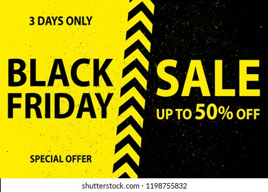 Black friday Sale background,grunge style,black and yellow banner,vector illustration