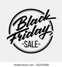 Black Friday Sale badge with handmade lettering, calligraphy and light background for logo, banners, labels, prints, posters, web, presentation. Vector illustration.