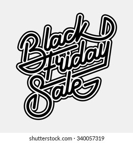 Black Friday Sale badge with handmade lettering, calligraphy with outlines and light background for logo, banners, labels, prints, posters, web, presentation. Vector illustration.