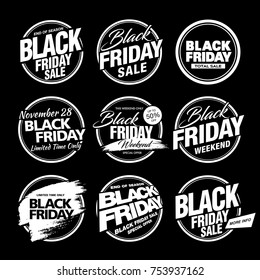 black friday sale badges layout design set