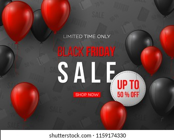 Black Friday sale banner. 3d red and black realistic glossy balloons with text and discount tag. Grey pattern background. Vector illustration.