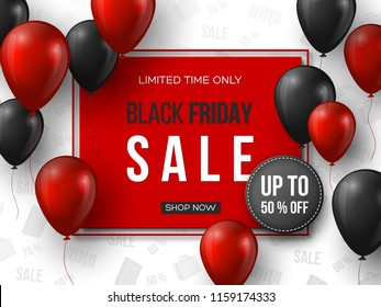 Black Friday sale banner. 3d red and black realistic glossy balloons with text in frame and discount tag. White pattern background. Vector illustration.