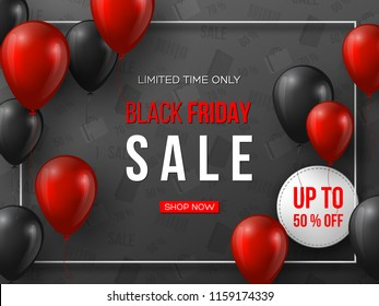 Black Friday sale banner. 3d red and black realistic glossy balloons with text in frame and discount tag. Grey pattern background. Vector illustration.