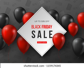 Black Friday sale banner. 3d red and black realistic glossy balloons with text in frame. Grey pattern background. Vector illustration.