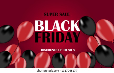 Black Friday sale banner. 3d red and black realistic glossy balloons with text on red background