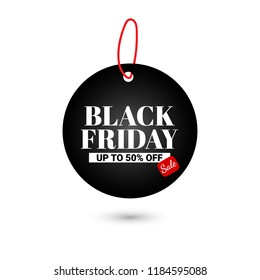 Black friday sale banner. up to 50% off. Vector