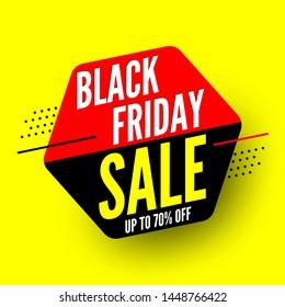 Black friday sale banner, up to 70% off. Vector illustration.