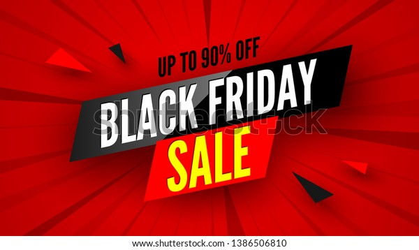 Black Friday Sale Banner 90 Off Stock Vector Royalty Free 1386506810