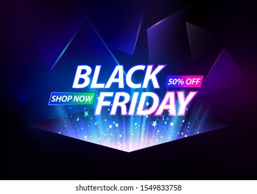 Black Friday Sale Banner. Blue Rays Rising on Dark Background. Vector Advertising Illustration.