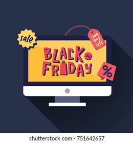 Black Friday Sale banner. Computer display with Black Friday Sale title. One day Sale. Vector illustration.