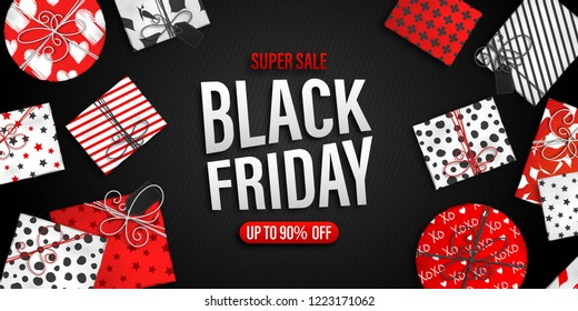 Black Friday Sale banner. Cool seasonal discount poster with red and white gift boxes on black background. Holiday design template for advertising shopping, closeout on thanksgiving day.