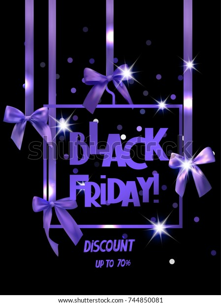 Black Friday Sale Banner Decorative Ribbons Stock Vector