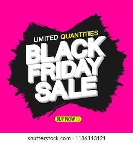 Black Friday Sale, banner design template, vector illustration
