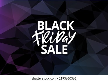 Black Friday Sale Banner Design. Hand Drawn Advertising Text on Dark Background. Vector Business Poster