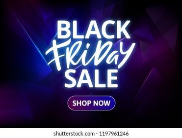 Black Friday Sale Banner Design. Hand Drawn Glowing Text on Dark Background. Vector Advertising Illustration.