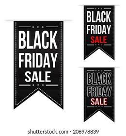 Black friday sale banner design set over a white background, vector illustration