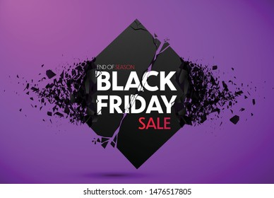 Black Friday Sale Banner With Explosive Effect. Vector Background