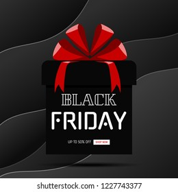 Black friday sale banner. Gift Box on black curve paper background. Vector Illustration.
