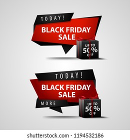 Black Friday sale. Banner with gifts