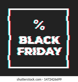 Black Friday sale banner with glitch effect - ready to use!