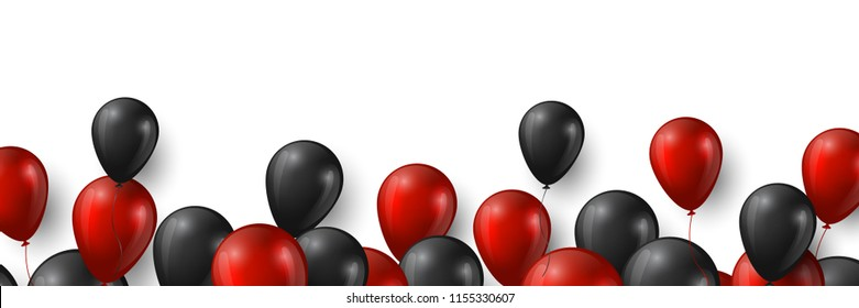 Black Friday sale banner with glossy red and black balloons on white background. Vector illustration.