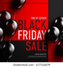 Black friday sale banner with glossy balloon on red background.