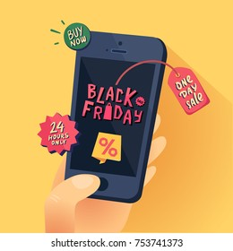 Black Friday Sale banner. Hand with smartphone and Black Friday title. One day Sale. Vector illustration.