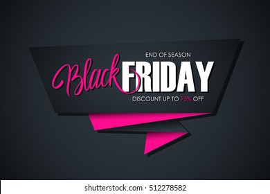 Black Friday Sale banner with handwritten element. End of season, discount up to 75% off. Banner for business, promotion and advertising. Vector illustration.