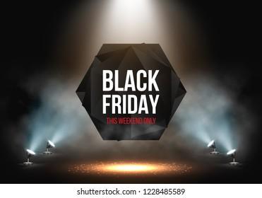 Black Friday Sale banner illuminated by spotlights. Vector illustration.