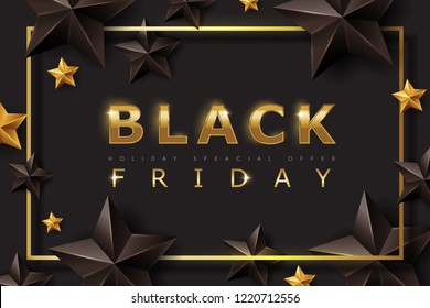 Black friday sale banner layout design template with black and gold stars. Vector illustration