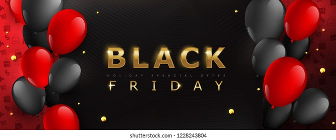 Black friday sale banner layout design template with balloons. Vector illustration