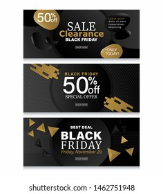 Black friday sale banner with modern dark liquid background.