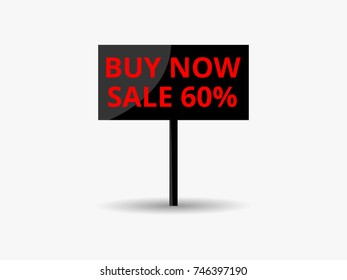 Black friday sale banner. Notice board buy now discount 60 percent. Vector illustration
