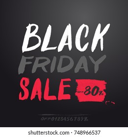 Black friday sale banner. Sale off 80%. For your design. With a set of digits for your discount. Freehand drawing. Vector illustration. Isolated on gray background